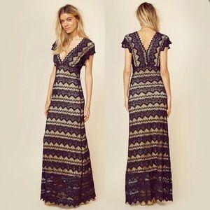 Nightcap Sierra Lace Plunging V Maxi Dress